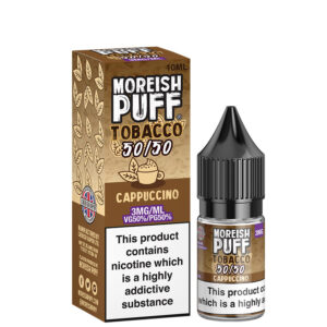 cappuccino 10ml 50 50 eliquid bottle with box by moreish puff tobacco 5050 300x300 1